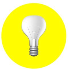 realistic light bulb on yellow vector image vector image