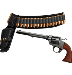 revolver a belt holster and ammunition vector image