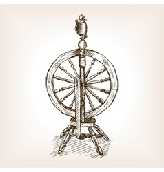 Spinning wheel sketch style vector image