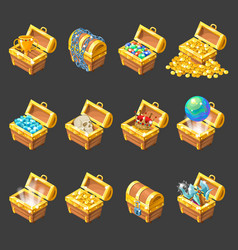 Treasure Chests Isometric Cartoon Set vector image