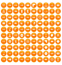100 road icons set orange vector