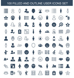 100 user icons vector