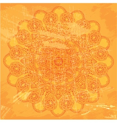 Abstract circle lace pattern on orange grunge back vector image