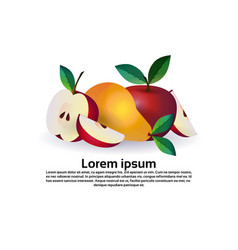 apple and pear on white background healthy vector image