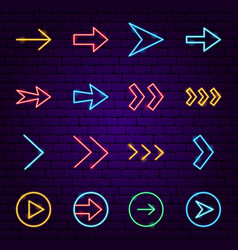arrow neon icons vector image
