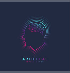Artificial intelligence and machine learning logo vector