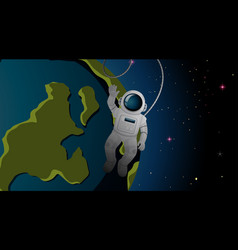 Astronaut and earth background vector