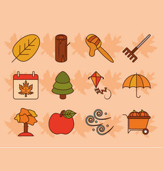 autumn season weather maple leaf basket hat vector image