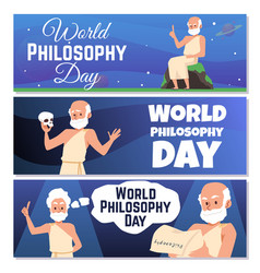 Banners for world philosophy day with antique vector