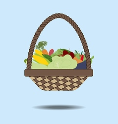 Basket with vegetables vector