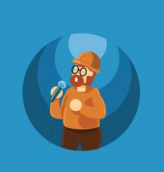beard man singing vector image