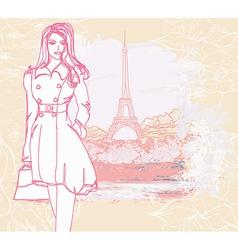 beautiful women Shopping in Paris - card vector image