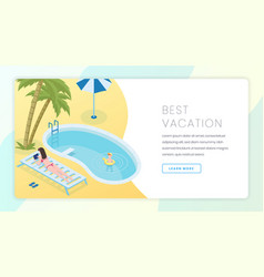 best vacation landing page template summer vector image