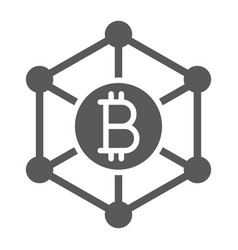 bitcoin network glyph icon money and finance vector image