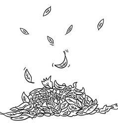 black and white leaves vector image