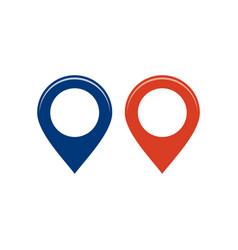 blue and red round map pointers location pins vector image