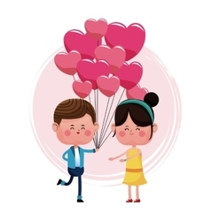 Boy with balloons heart shape and girl happy vector