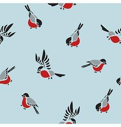 Bullfinches seamless pattern vector image