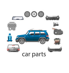 Car spares and parts top view vector