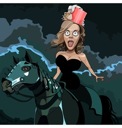 Cartoon frightened woman in hat riding a horse vector