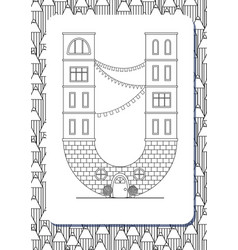 Cartoon letter u drawn in the shape of house vector