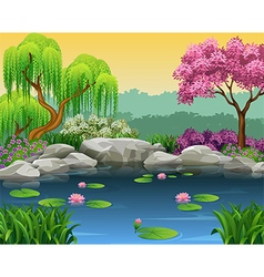 Cartoon of beautiful river background vector