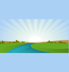 Cartoon river landscape vector