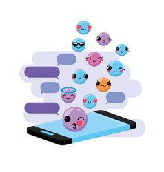 Chat bubble message with kawaii emoji vector