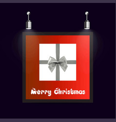 christmas frame with red background ang giftbox vector image