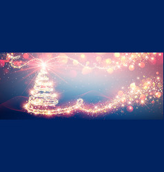 Christmas tree magic in bright colors new year vector
