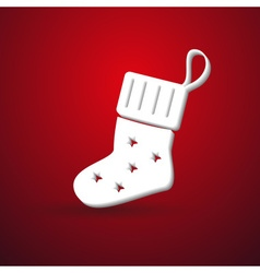 Christmas winter sock modern paper like symbol on vector