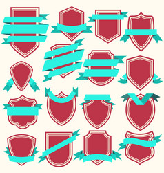 collection flat style shields and ribbons vector image