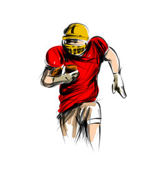Color line sketch of american football player vector