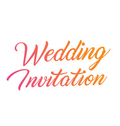 colorful gradient hand writing word wedding vector image