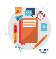 Colorful poster freelance business with notebook vector