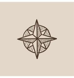 Compass wind rose sketch icon vector image