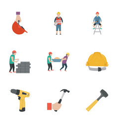 Construction work flat icons vector