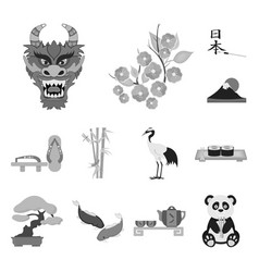 Country japan monochrome icons in set collection vector