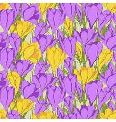Crocus seamless pattern 1 purple yellow vector