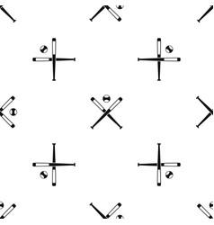 Crossed baseball bats and ball pattern seamless vector