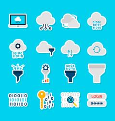 data computing stickers vector image