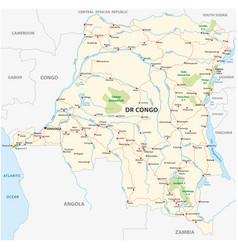 democratic republic of the congo road map kopie vector image
