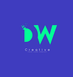 Dw letter logo design with negative space concept vector
