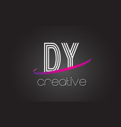 Dy d y letter logo with lines design and purple vector