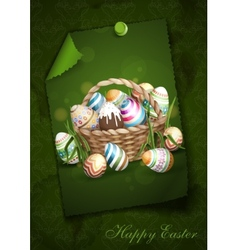 Easter Background With A Basket vector