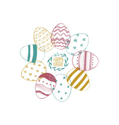 easter greeting card with ornate eggs vector image