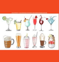 Engraved style cold beverages and cocktails vector