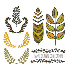 Ethnic collection with stylized colorful leaves vector