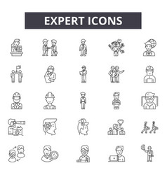 expert line icons signs set outline vector image