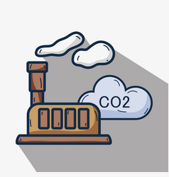 Factory with co2 pollution and contaminating of vector